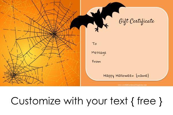 Halloween Gift Certificates Gift Certificate Template Halloween Gifts Gift Card Template