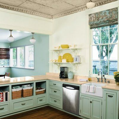 tin ceiling blue colored cabinets blue flowing through to next rh pinterest ca  blue green kitchen cupboards