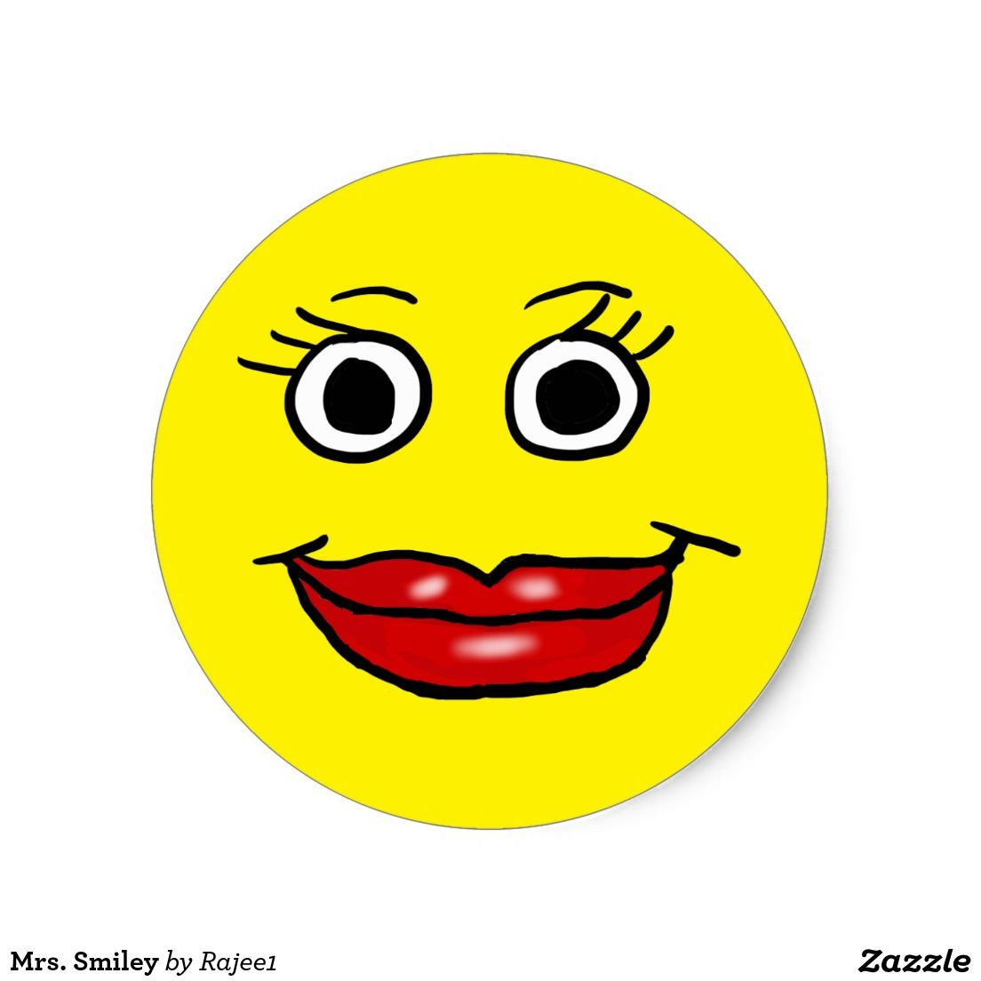 Mrs smiley classic round sticker