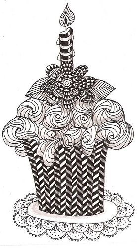 Cupcake with flower on top ~ Zentangle barbara ~  sc0000ef10 Flickr - Photo Sharing!