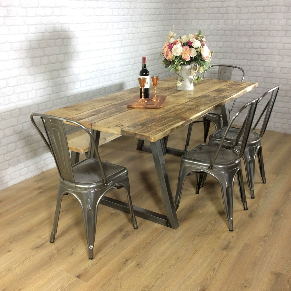 Industrial Rustic Calia Style Dining Table Vintage Reclaimed Wood Plank Top Oak