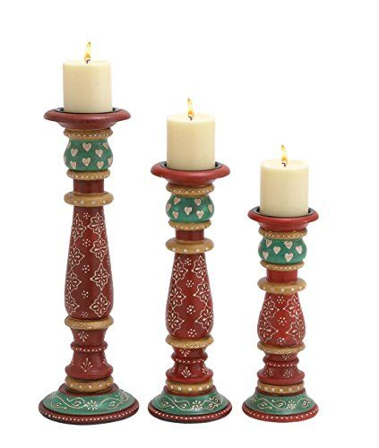 Amazon.com - Deco 79 Wood Candle Holder, 18-Inch 15-Inch 12, Green, Set of 3 -