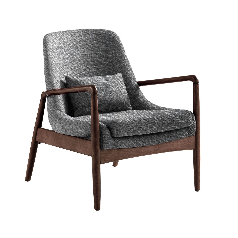 Rollins Modern Arm Chair Blue: Dixon Mid-century Modern Grey Fabric Upholstered Club