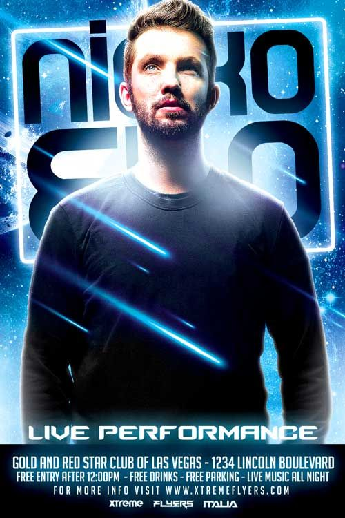 Free Futuristic DJ Flyer Template PSD Download - Enjoy download this