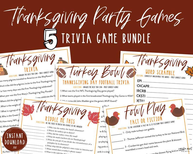 Thanksgiving Trivia Game Bundle 5 Thanksgiving Printable Etsy In 2020 Thanksgiving Facts Friendsgiving Thanksgiving Printables