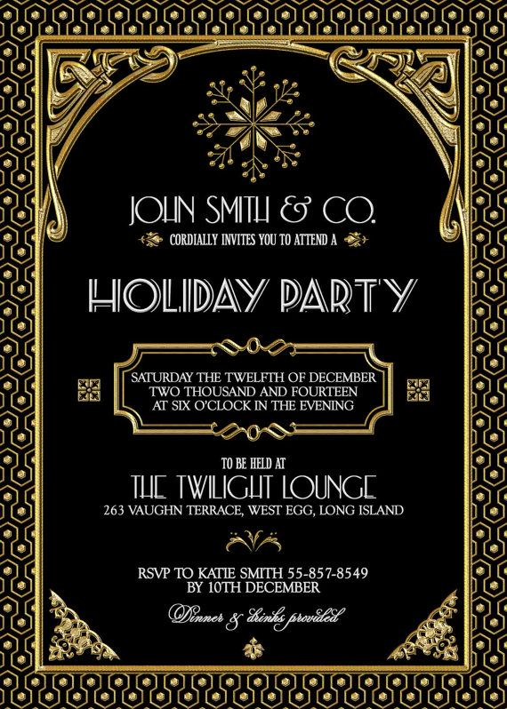 Gatsby Holiday Party Invitation Black Gold Christmas Party – Holiday Party Email Invitations