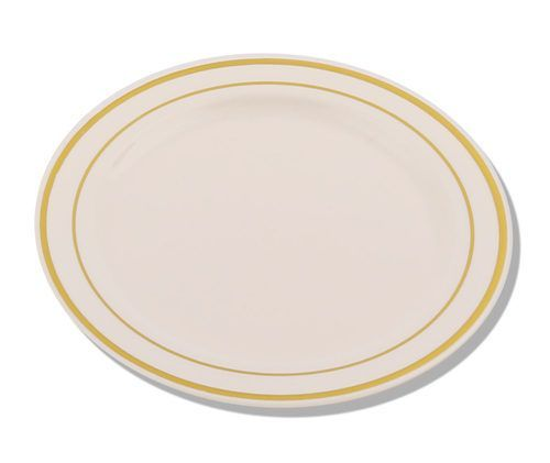10.25  Ivory/Gold Round Plastic Dinner Plates - 10 plates  sc 1 st  Pinterest : heavy plastic plates for weddings - pezcame.com