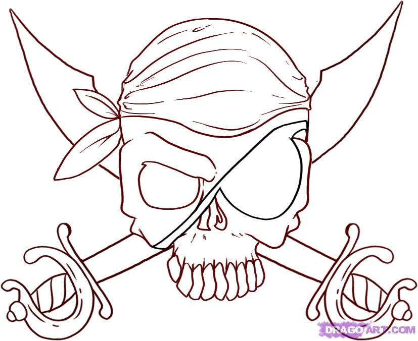 Nice easy skull drawing how to draw jolly roger skull and step how to draw jolly roger skull and cutlasses thecheapjerseys Choice Image