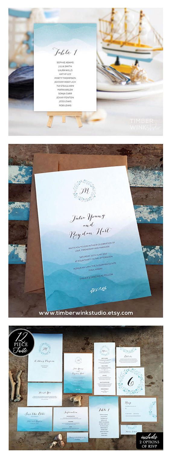 This beach wedding invitation collection with blue ombre tones is ...