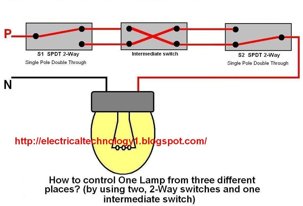 2 Way Switch Electrical Lighting Wiring Diagram How To Control One Lamp From Three Different Places By Using Two 2 Way Swit 3 Way Switch Wiring Switches Switch