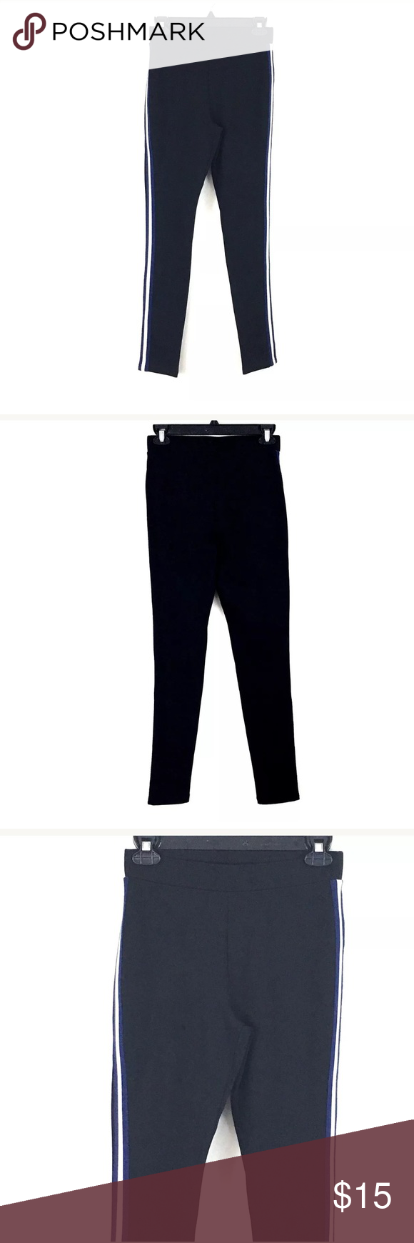 5e8cf8e1a34185 Romeo and Juliet Couture leggings Romeo and Juliet Couture Womens Size  Small black leggings with blue and white panels down the outer side of each  leg.