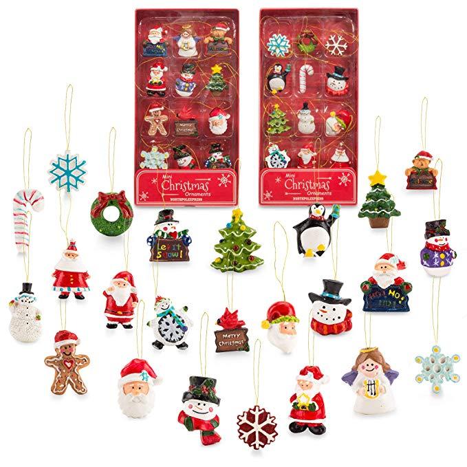 Amazon Com Mini Resin Christmas Ornaments Set Of 24 Rustic Christmas Dec Christmas Decorations Rustic Christmas Ornament Sets Diy Christmas Decorations Easy