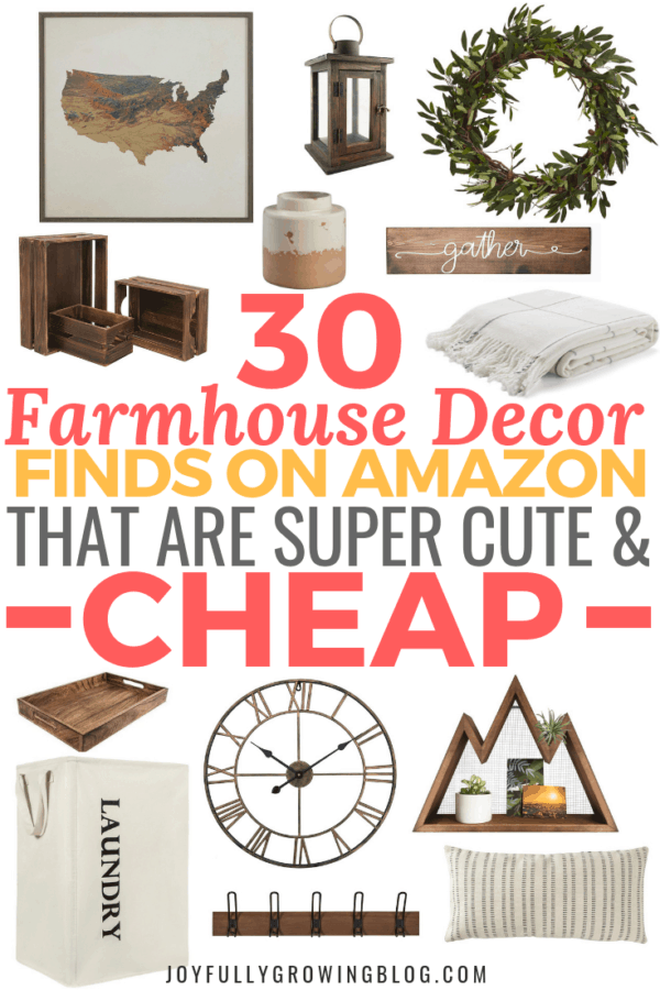 The best modern farmhouse amazon finds that'll make you want to decorate your house on a budget! You can easily add a modern rustic decor vibe with these affordable Amazon decor finds. Pinning these rustic home decor on a budget ideas for later! #joyfullygrowingblog #farmhousedecor #rusticdecor #amazondecor