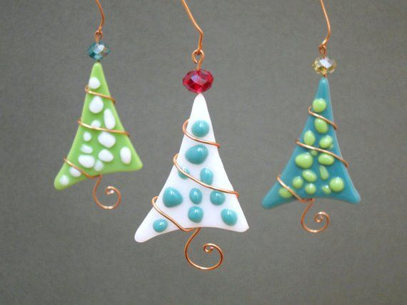 Christmas Tree Ornaments 3 Personalized Fused Glass Polka Dot Party Favor Green Teal #setinstains