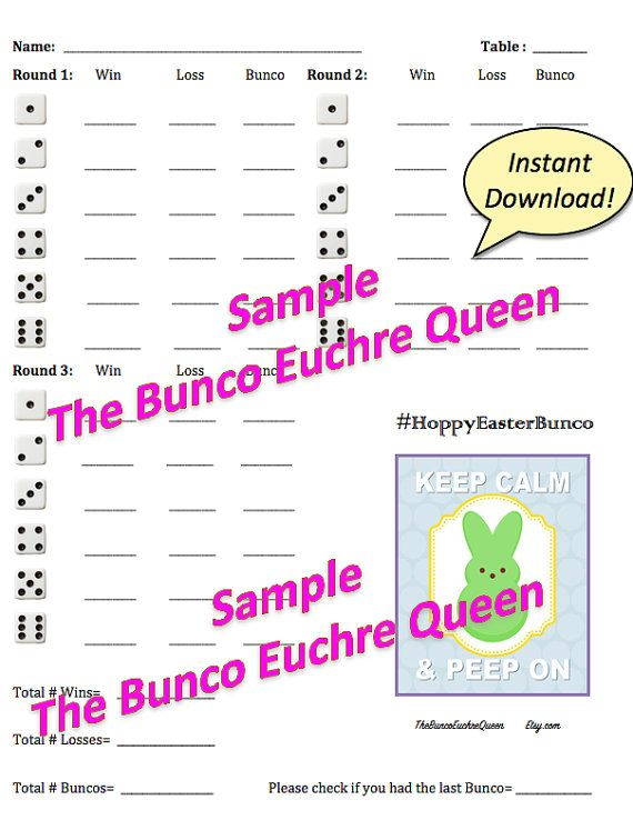 Easter Bunco Score Card- Printable Score Sheets, Tally Sheet And