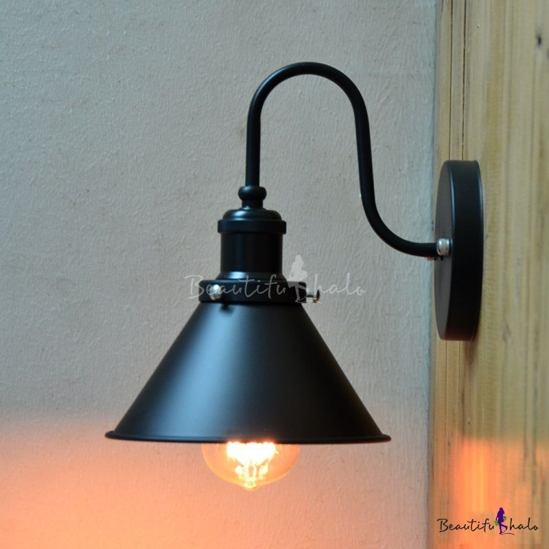 Vintage Industrial Indoor Hallway Lighting Gooseneck Barn 1 Light Wall Light Hallway Lighting Metal Lanterns Wall Lights