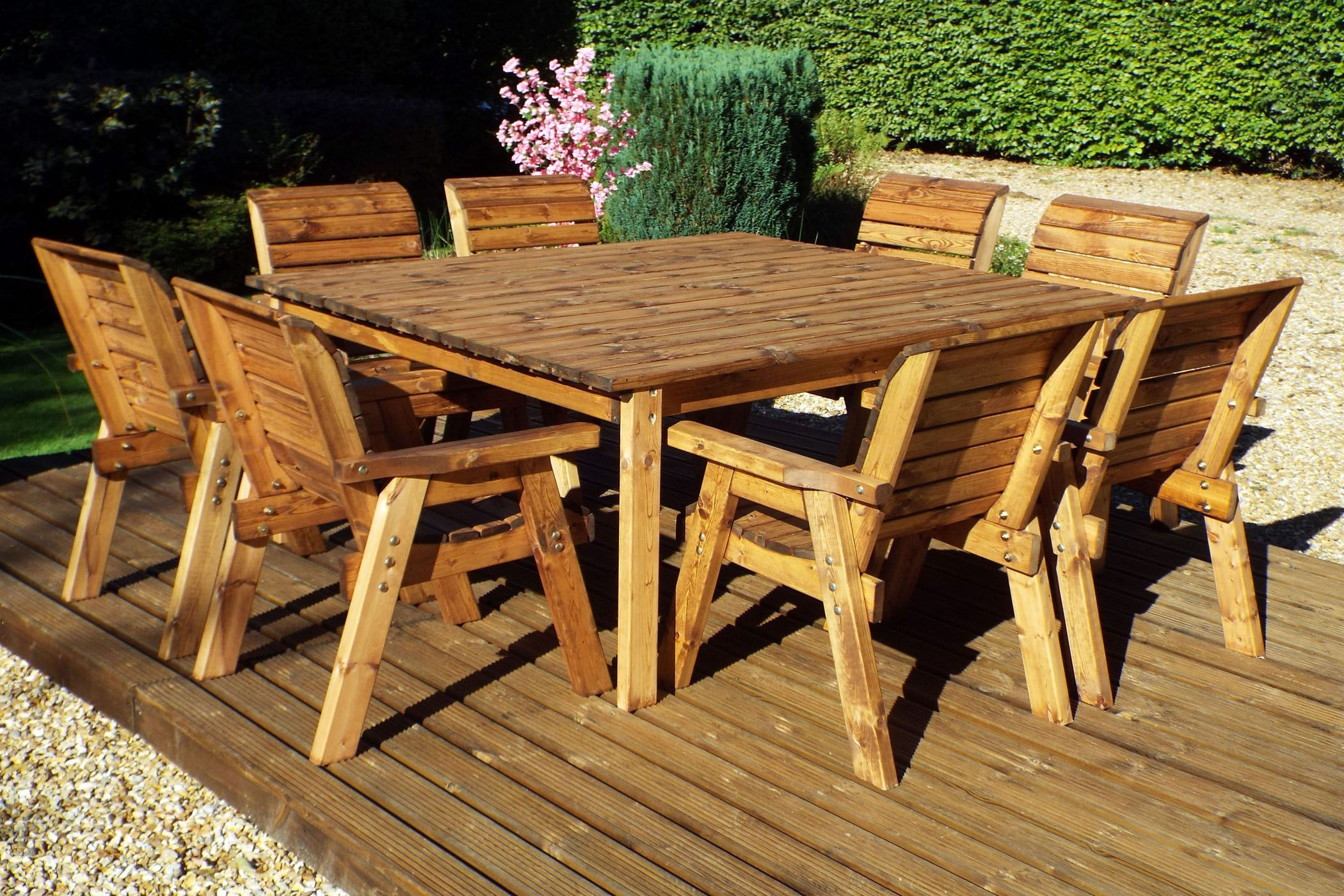 8 Seater Wooden Garden Table Chair Dining Set Wooden Outdoor Table Wooden Garden Table Wooden Table And Chairs