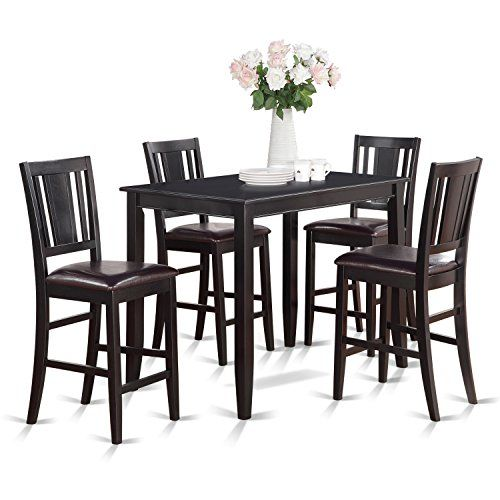 Cheap East West Furniture BUCK5-BLK-LC 5-Piece Gathering Table Set