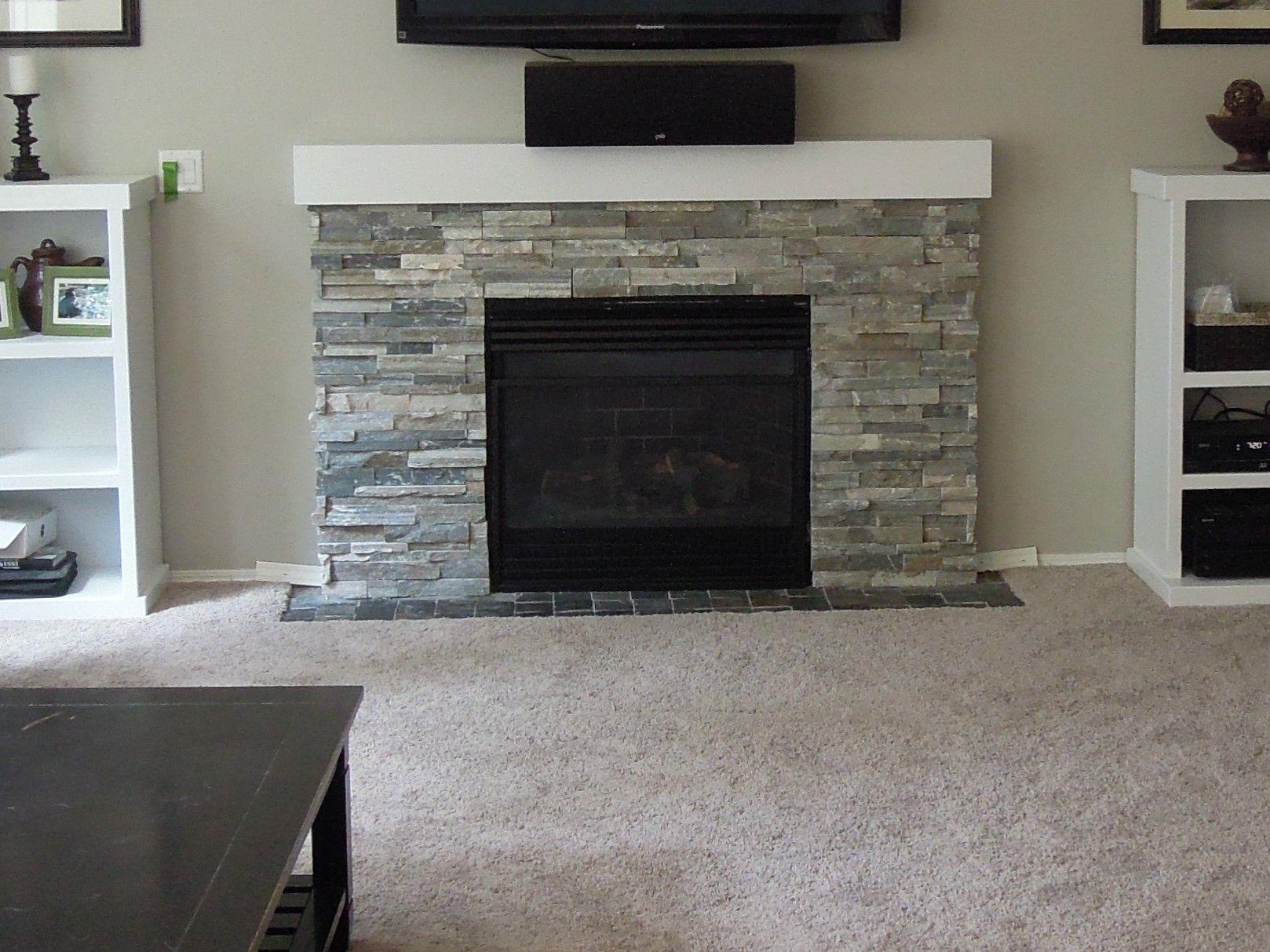 Sierra Blue Quartzite Ledger Stone Fireplace Surround Simple