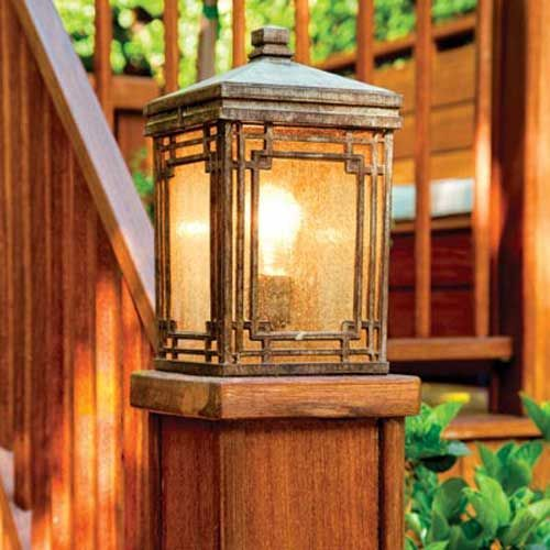 post carriage lights cap the posts at the foot of the steps leading to the brick patio providing both an attractive accent and welcome