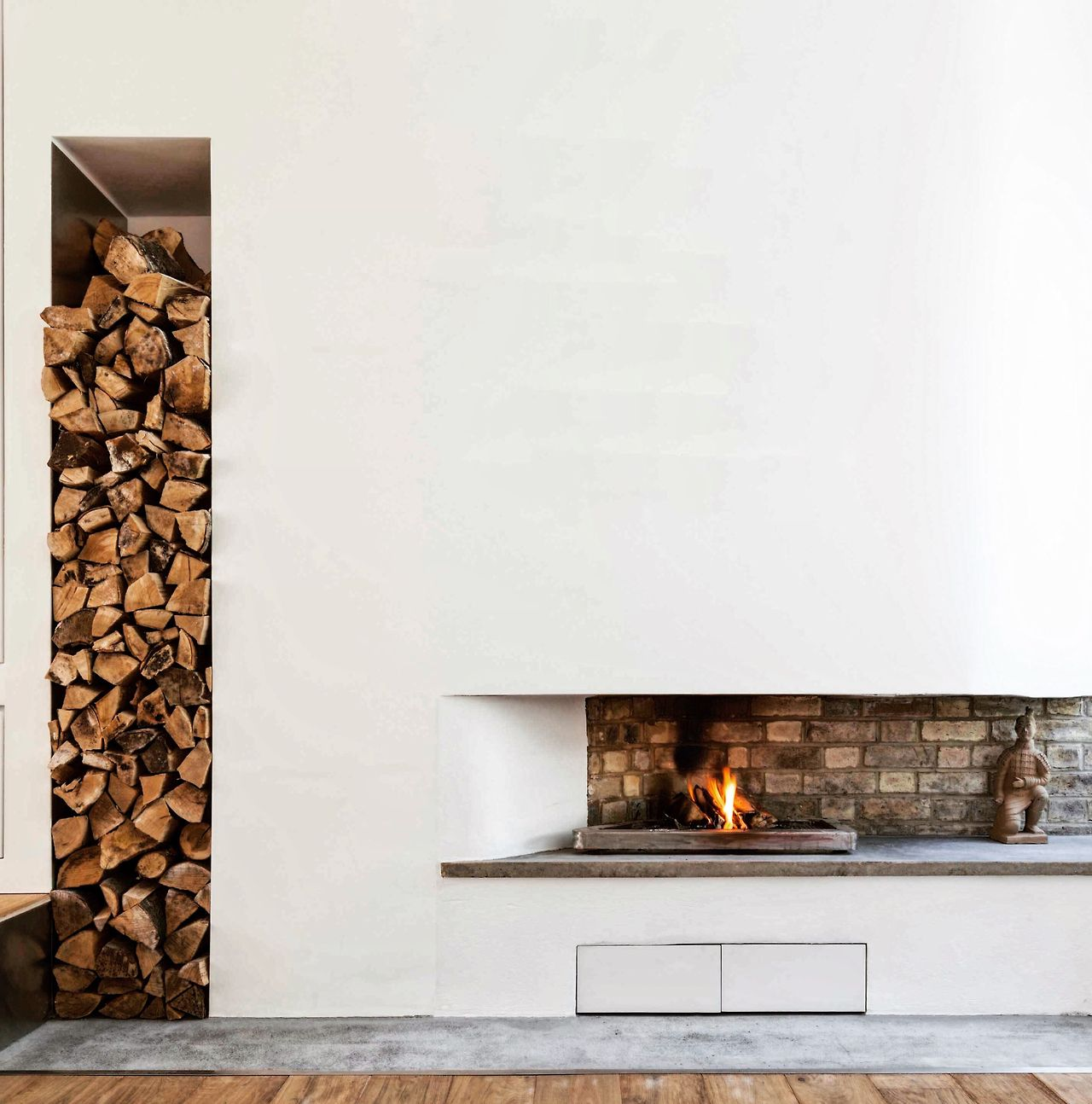 Never enough timber. Open fireplace and interior wood ...