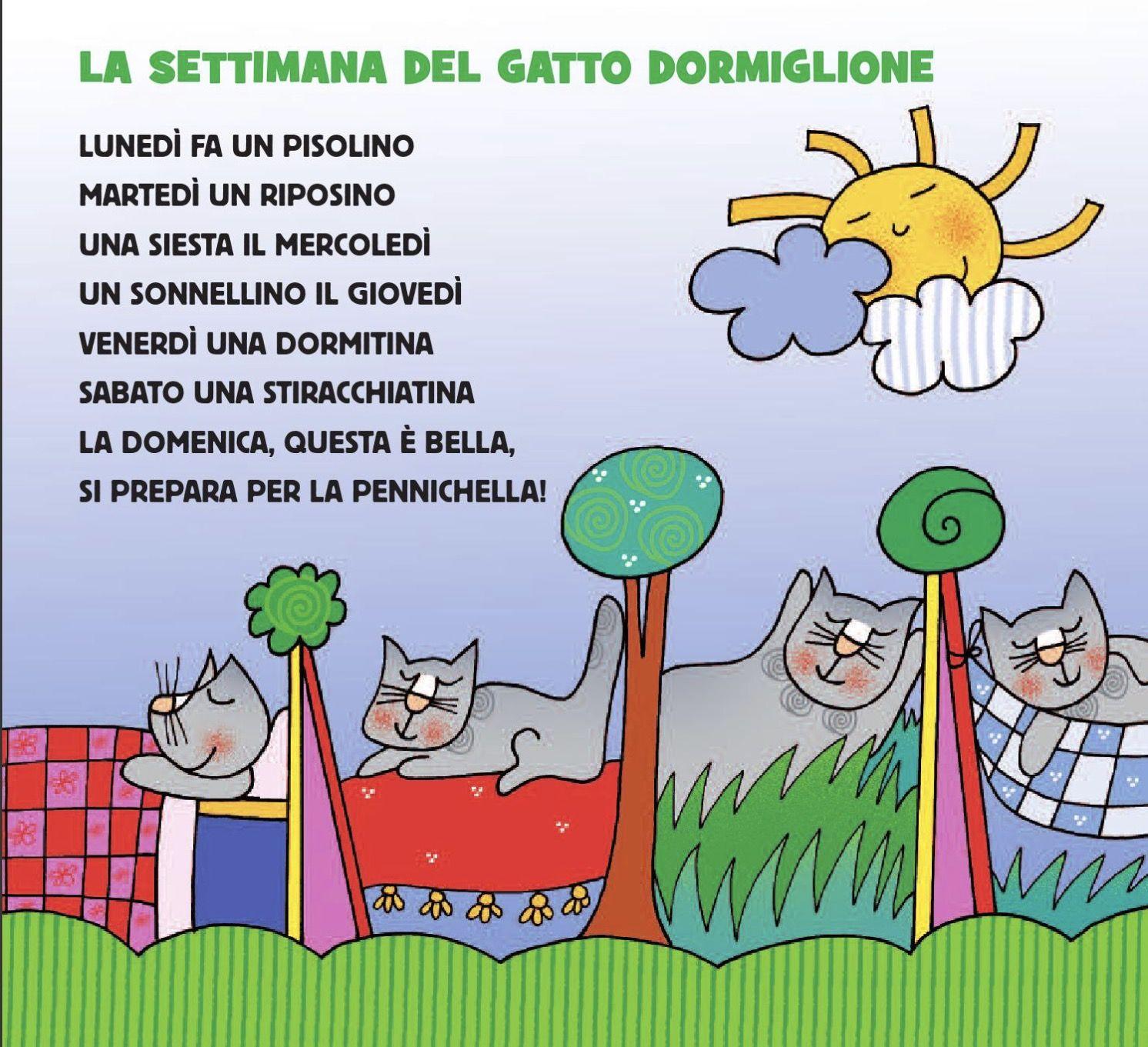 Calendario Eta Gatti.Filastrocca Della Settimana Del Gatto Dormiglione Italiano