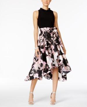 260d7b838e3 Sl Fashions Floral-Print High-Low Dress - Black Pink 2