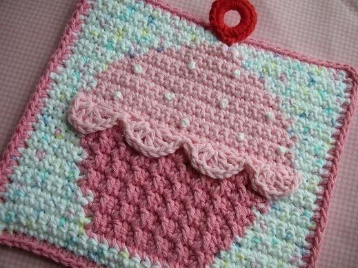 Cupcake Potholder Crochet Pattern Instant Download Topflappen