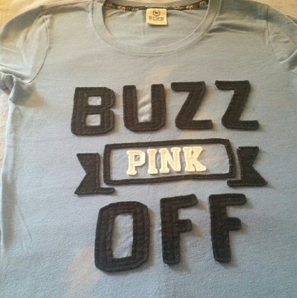 Victoria secret tee-shirt Like new Buzz off tee with lighting bolt going thur words Victoria secret  Tops Tees - Long Sleeve