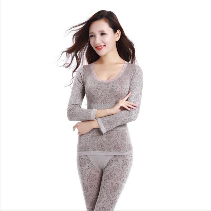 2017 New Women s Winter Thermal Underwears Fashion Seamless Breathable Warm  Long Johns Ladies Slim Underwears Sets 1ad35dfd8eaf