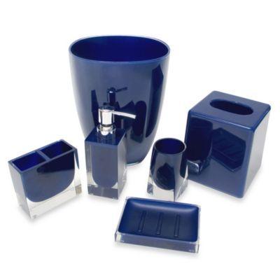 Memphis Waste Basket In Nautical Blue Blue Bathroom Accessories Bathroom Accessories Nautical Bathroom Decor