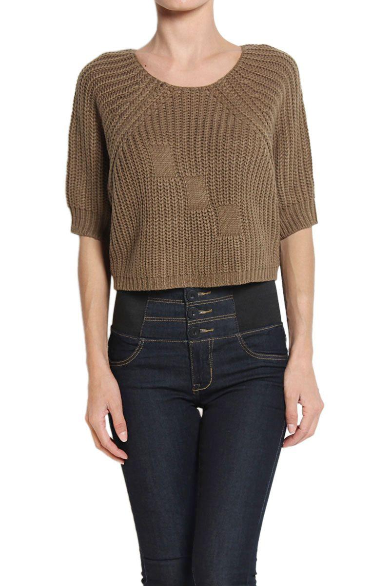 TheMogan Chunky Knit Open Back Crop Sweater  a3eb09657