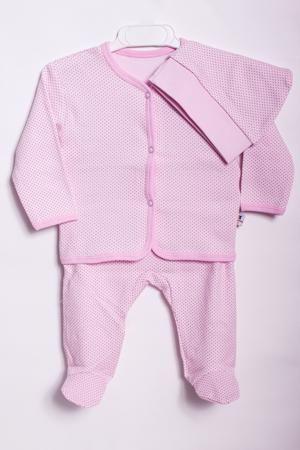 LacyWear Комплект KMD(44)-SKA  — 640р. ------------------------- Хлопковый комплект для новорожденного (ползунки+кофточка+шапочка).  В изделии использованы цвета: розовый  Размер соответствует росту ребенка.