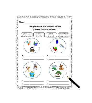 french worksheet handout to learn the seasons printable worksheet french language sheet french. Black Bedroom Furniture Sets. Home Design Ideas