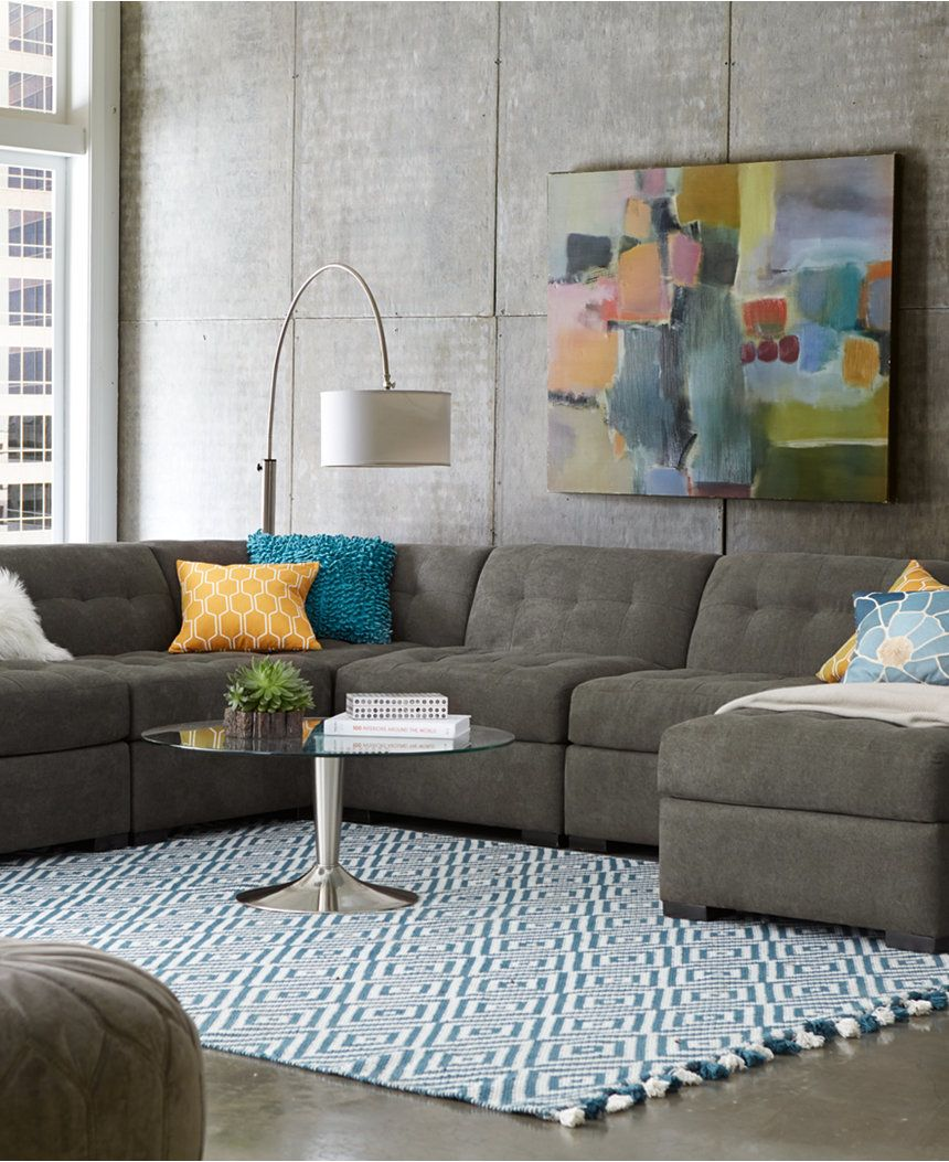 Best Roxanne Fabric 6 Piece Modular Sectional Sofa W Chaise 400 x 300
