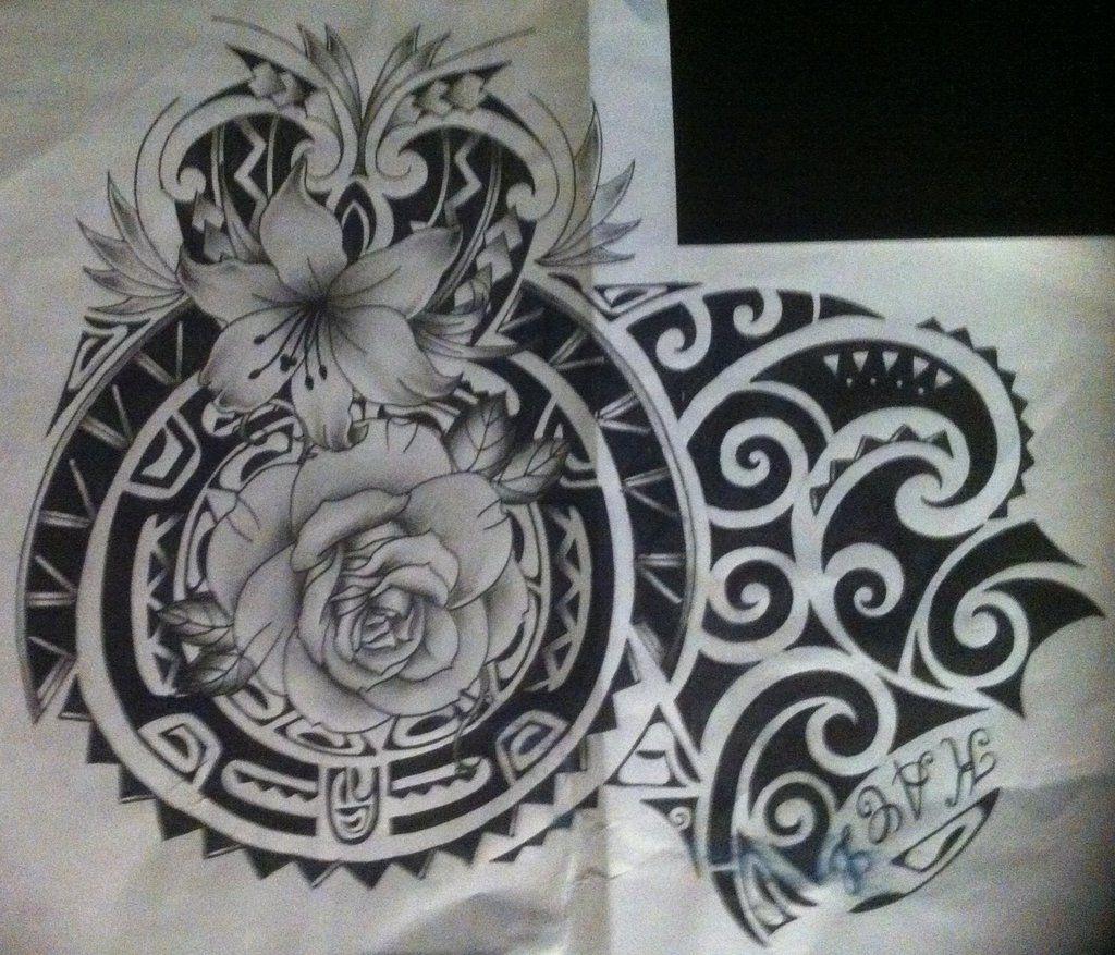 Maori With Flower Tattoo Design Polynesian By Tattoosuzette Deviantart Com On Deviantart Flower Tattoo Designs Samoan Tattoo Flower Tattoo