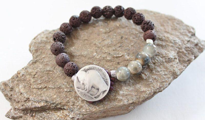 Primative Buffalo Bison button elastic bracelet/Southwestern/Bohemian/Native American/Natural Lava beads/navajo/free people/unisex/handmade. $20.00, via Etsy.