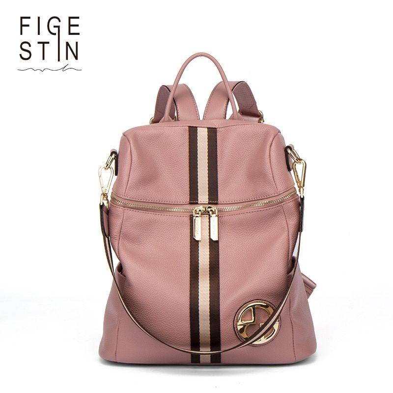 f290a1d39a FIGESTIN Backpack Female Genuine Leather Women Backpacks School Bag Pink  Stripe Multifunctional Leather Back pack on Shoulder - TakoFashion -  Women s ...