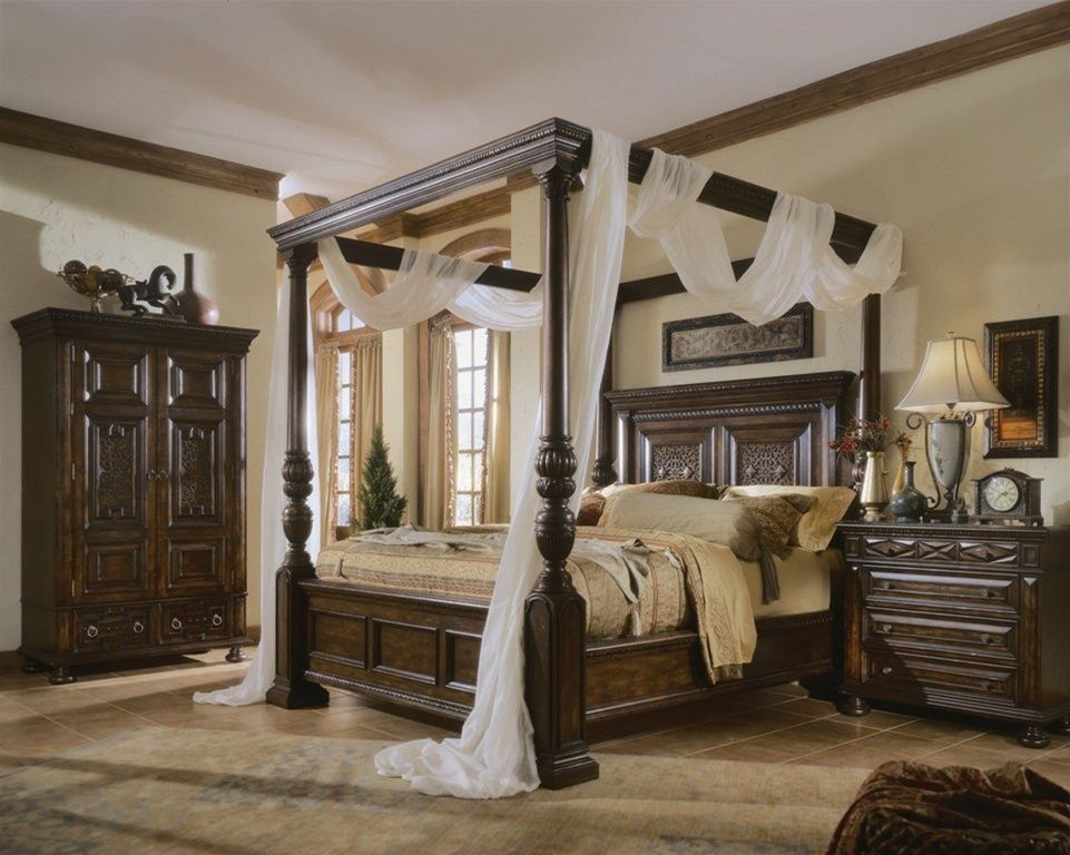 dark brown teak canopy bed frame decor with height headboard and white sheer curtain incredible four poster bed frame design ideas - Dark Wood Canopy Interior