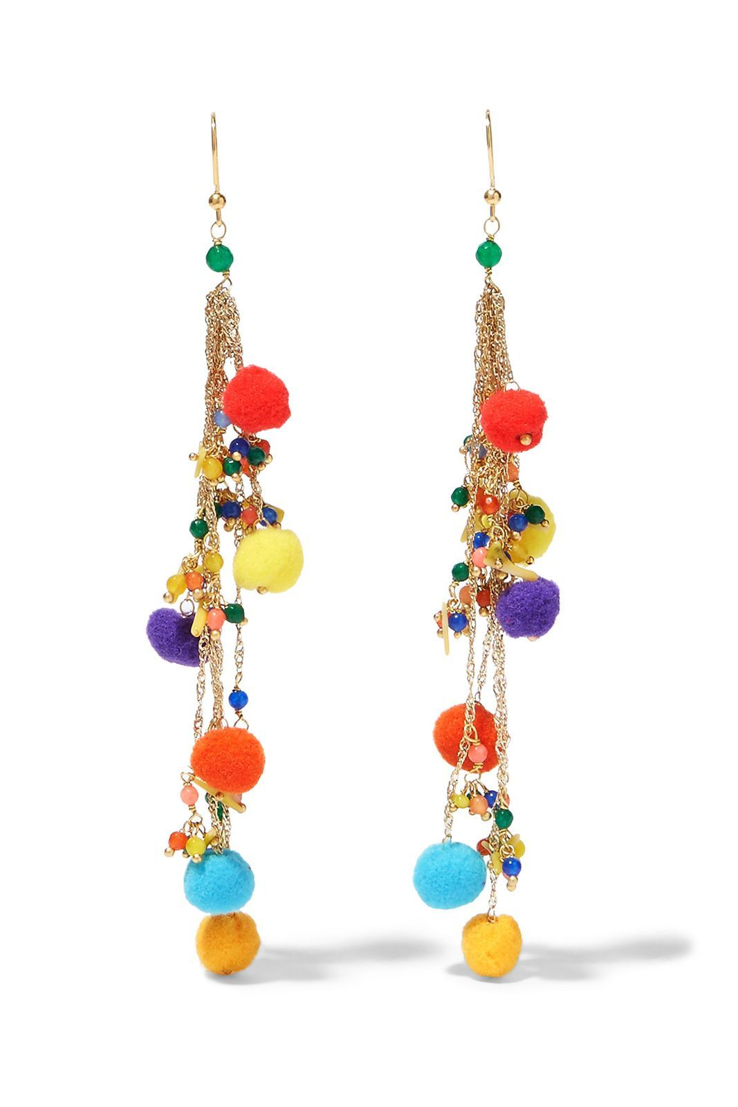 Rosantica Cancun pompom-embellished gold-tone quartz earrings,£145, available at Net-A-Porter...