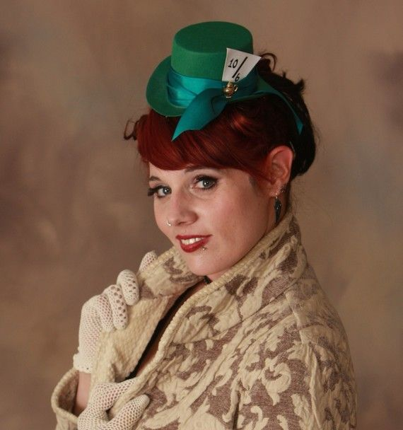 Mad Hatter Alice In Wonderland Inspired Mini Top Hat In Green For