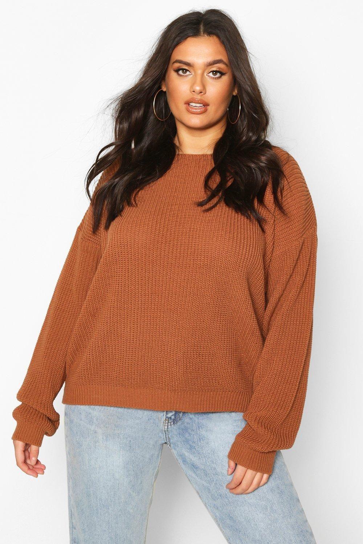 Plus V Back Oversized Sweater | boohoo | Curve tops