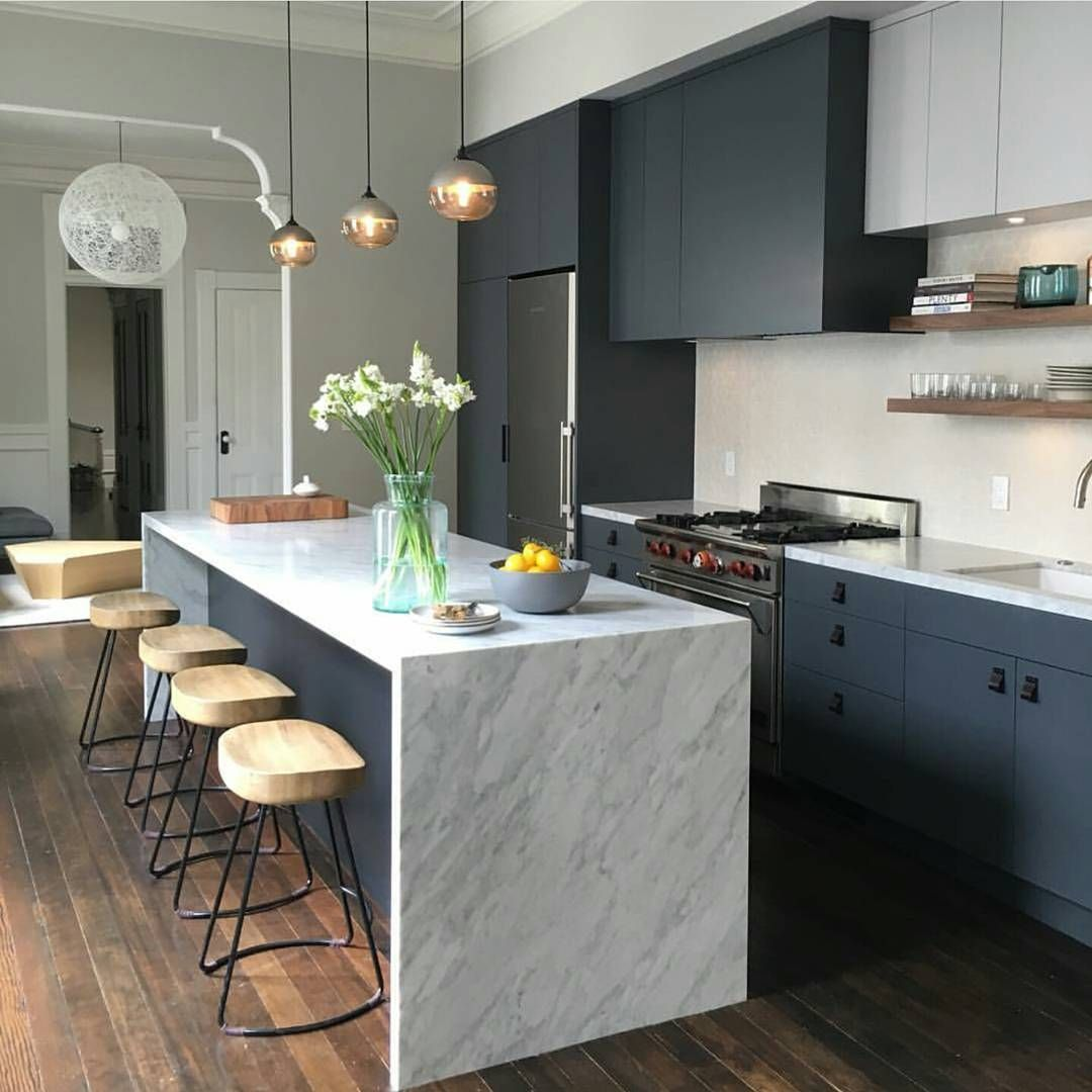 White Kitchen Marble Benchtop: Love The Idea Of Harsh, Dark Cabinetry Paired With A