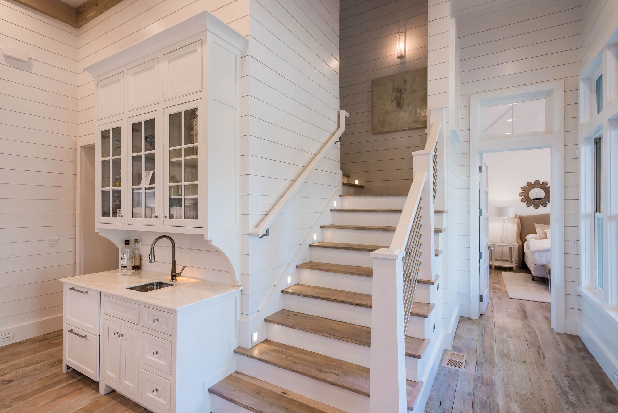 Lighting Basement Washroom Stairs: Staircase (and Shiplap Walls...love)