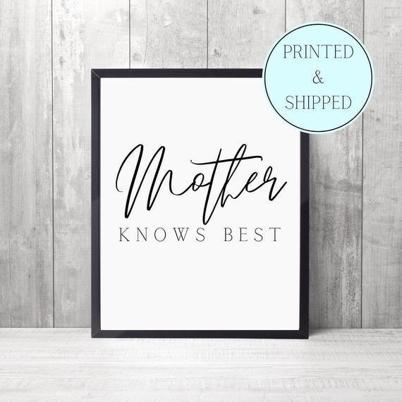 Mother Knows Best Print Mum Gift Birthday Mum Birthday   Etsy