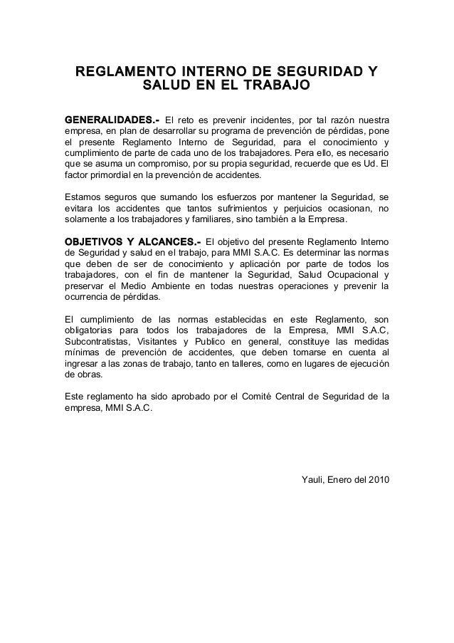 REGLAMENTO INTERNO DE SEGURIDAD Y SALUD EN EL TRABAJO GENERALIDADES ...