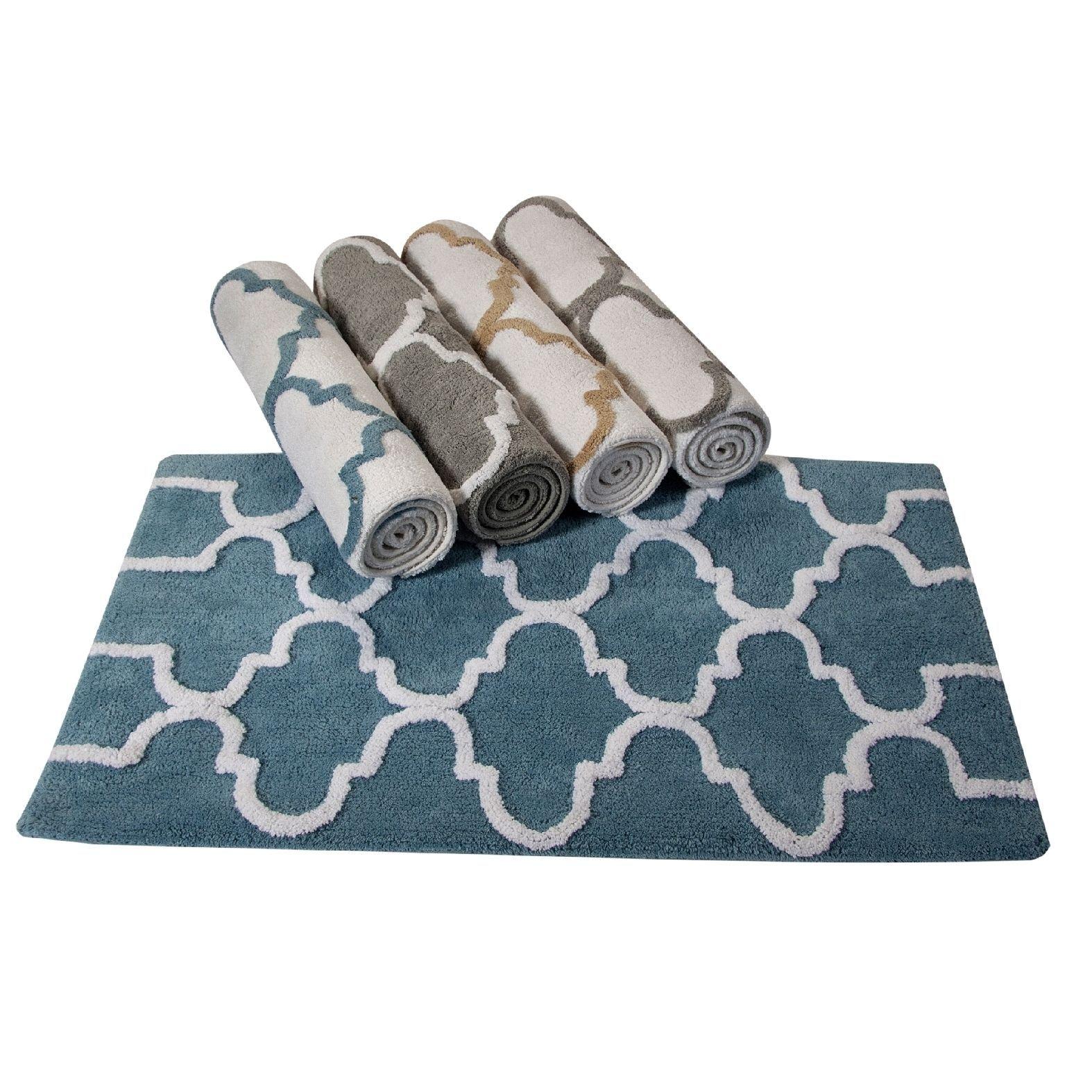 Saffron Fabs Cotton Geometrics Bath Rug | Grey and beige, Grey and ...