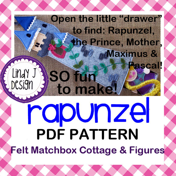 Fairy Tale MATCHBOX Cottage #7 RAPUNZEL Felt Playset .PDF Pattern