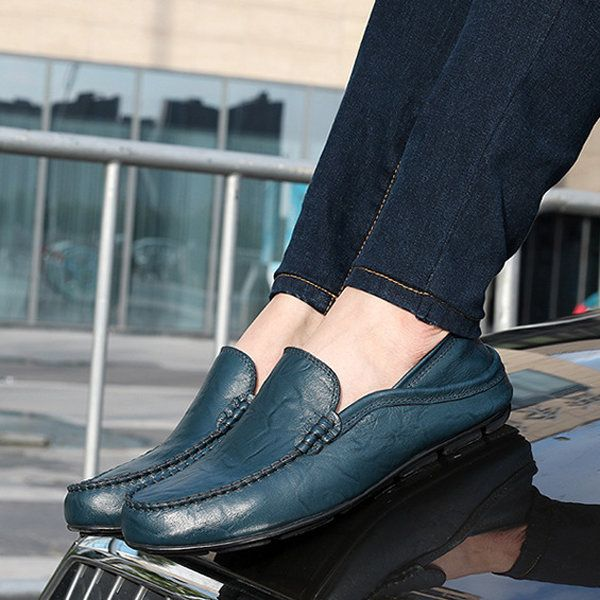 df191c56195 For Men Folded Two Way Wearing Leather Slip On Driving Loafers Shoes -  NewChic