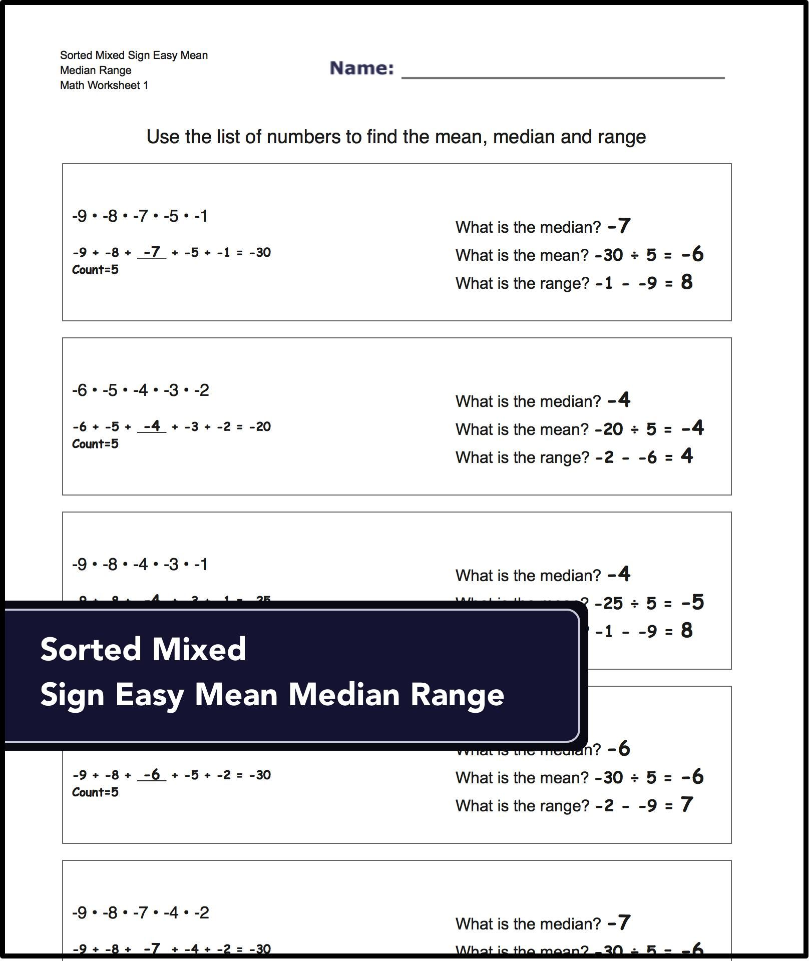 Printable Math Worksheets For Finding The Mean Median And Range For Mixed Sign Num Math Worksheets Kindergarten Worksheets Free Printables Math Facts Addition [ 1920 x 1620 Pixel ]